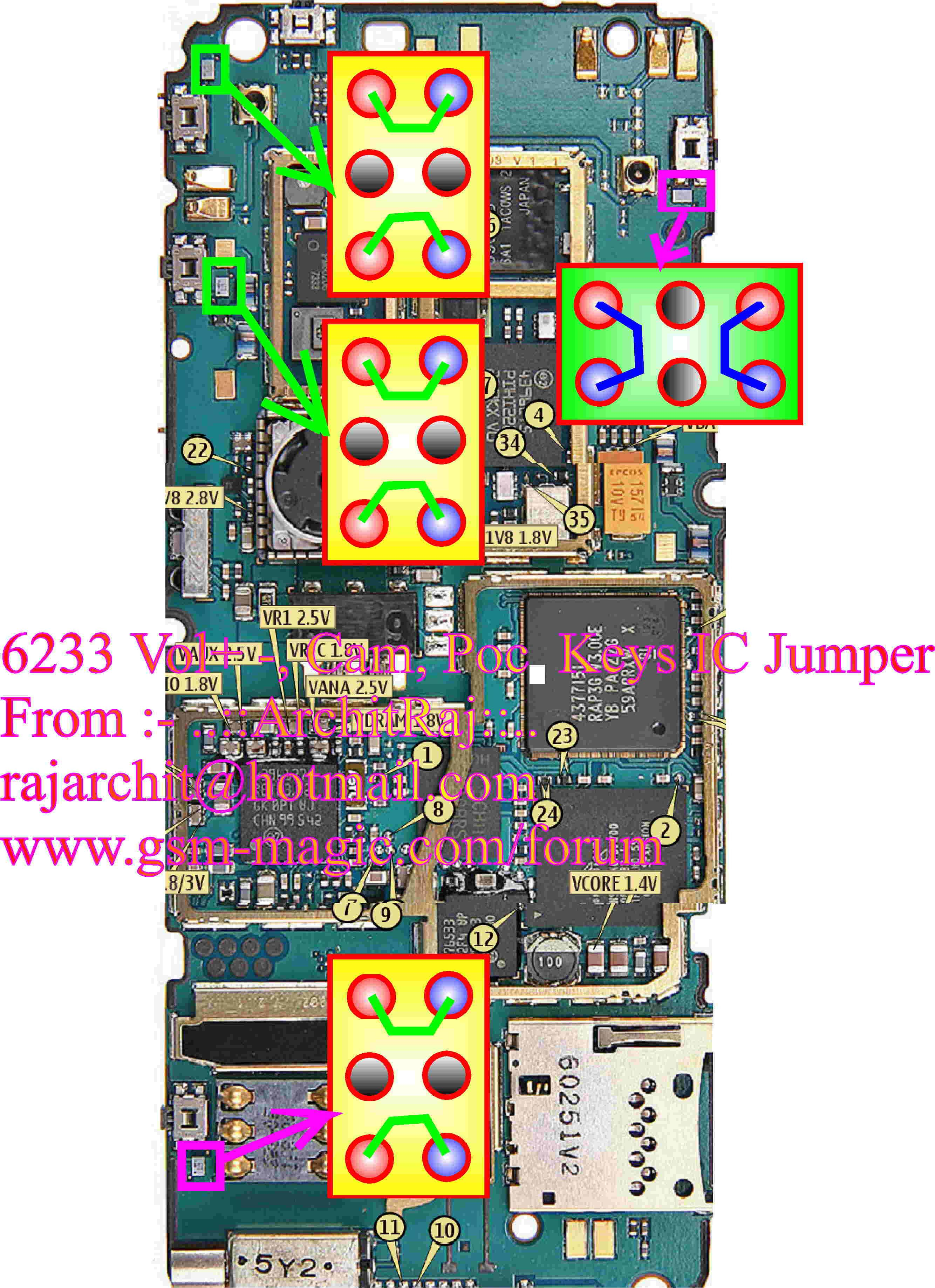 you have to remove the ic and make jumpers as given in the image
