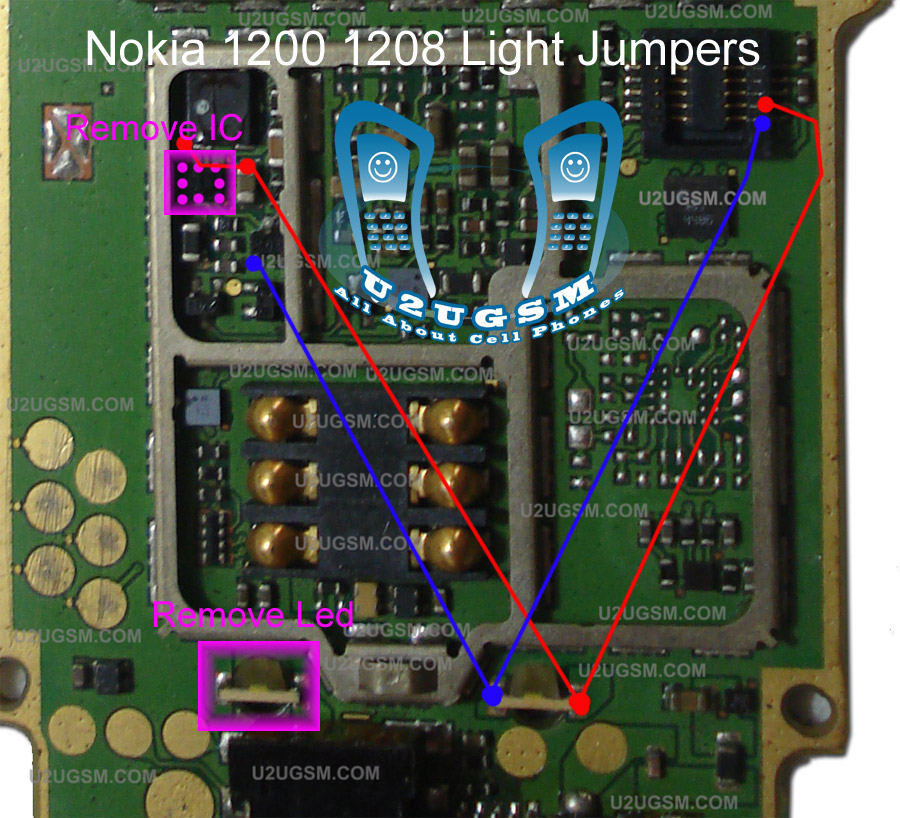 here is a solution for keypad and lcd light in nokia 1200.this image