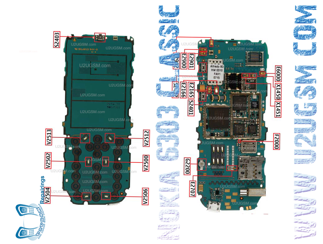 Nokia 6303 Classic Full PCB Diagram Mother Board.