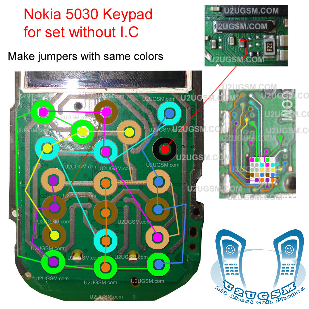 Nokia 5030 keypad ways with ic jumper solution 100% tested track path.