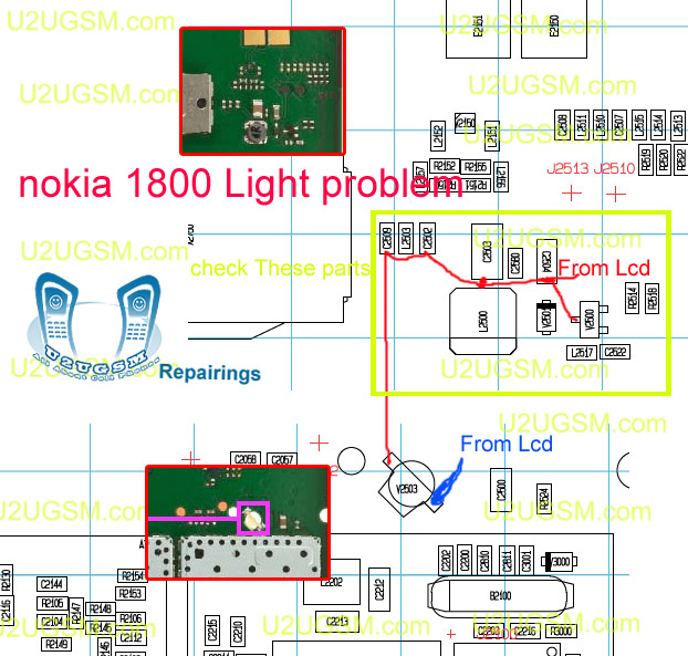 Nokia 1800 Lcd and Led Light Problem Solution Ways Jumpers