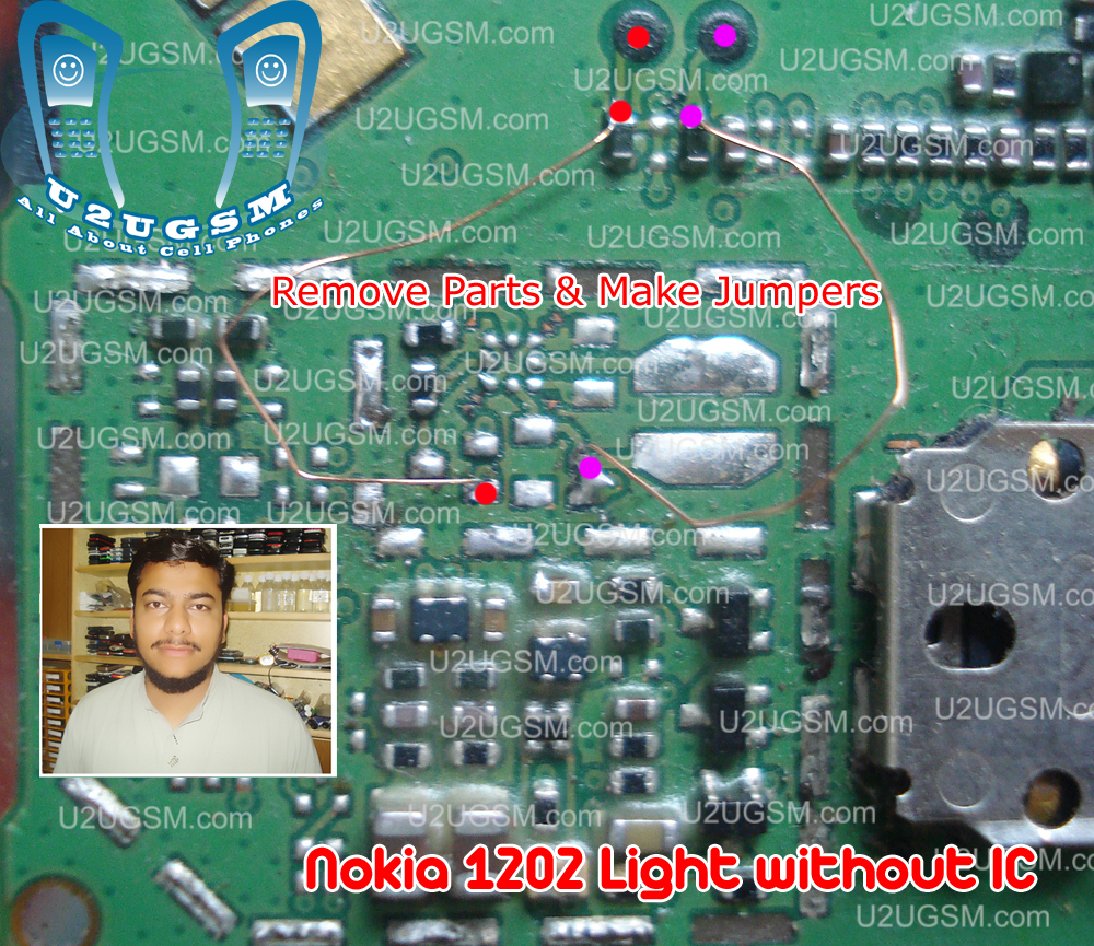 Nokia 1202 Light without Ic Display Keypad Led jumper tested