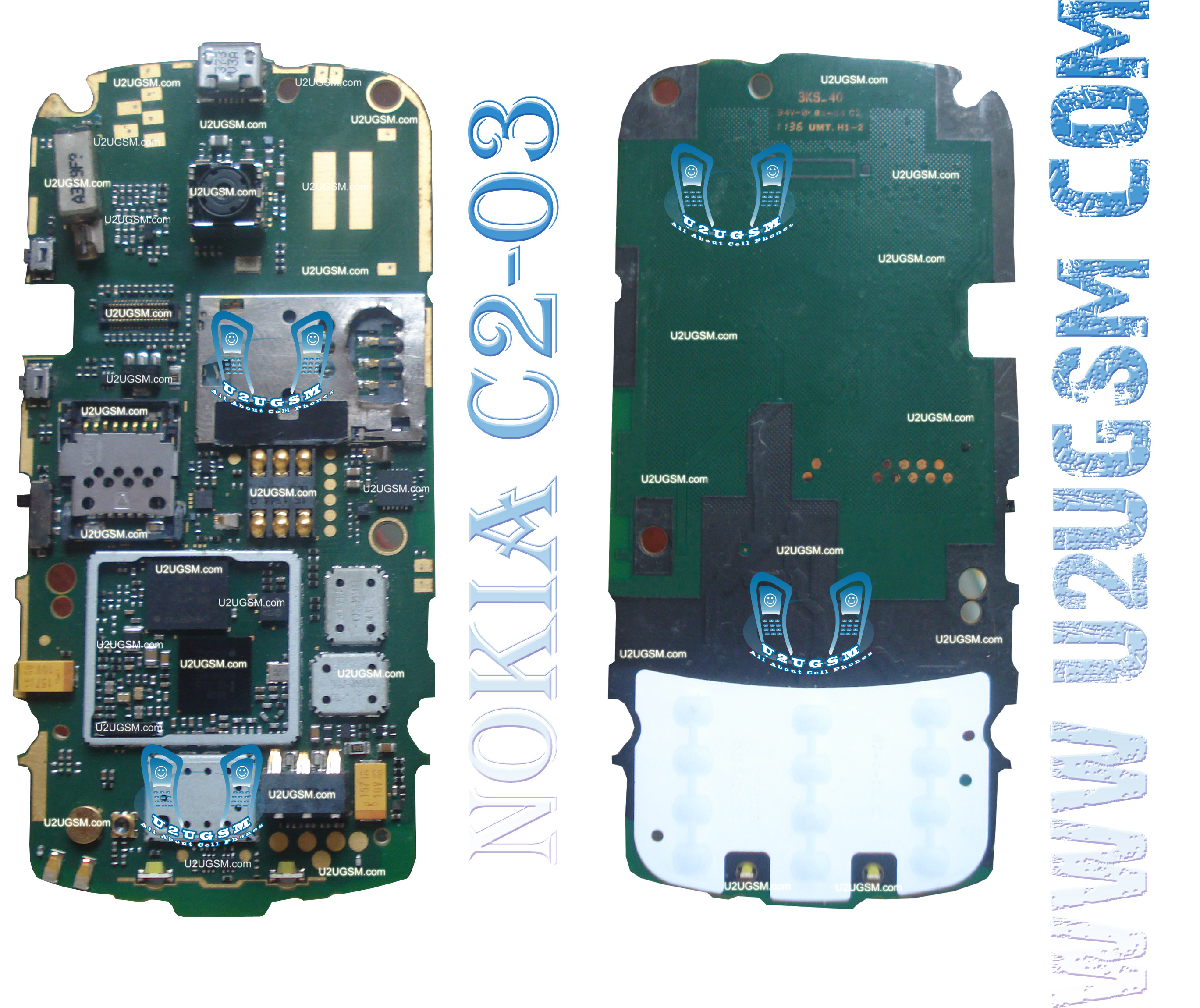Nokia C2-02 Full PCB Diagram Mother Board Layout.