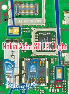 Nokia Asha 311 Lcd Keypad Led light problem solution jumper ways