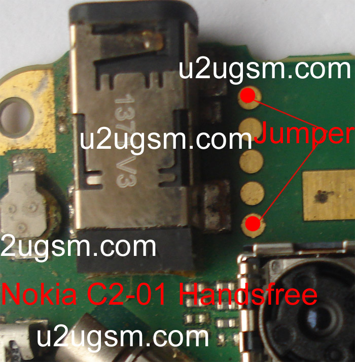 To solve Nokia C2-01 Hendfree problem make jumpers that is identified