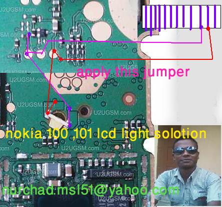 jumpers. Light problem in Nokia 101 can be cause of water damages