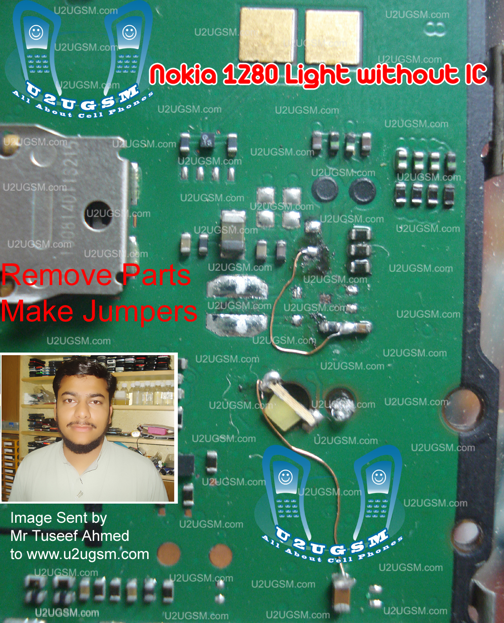 All Gsm Solution: nokia 1280 light solution without transistor