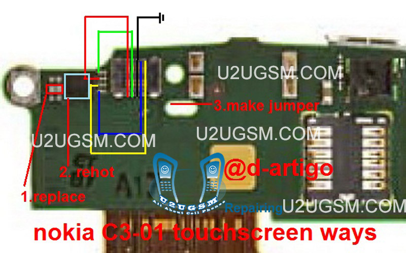 Nokia c3 01 touch screen not working problem solution jumper ways