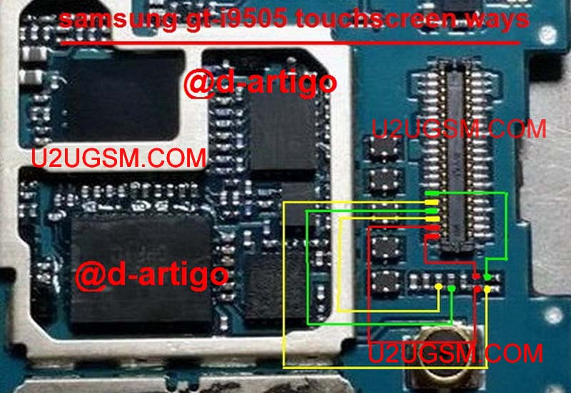 Samsung I9505 Galaxy S4 Touch Screen Connector Problem Jumper Solution Ways