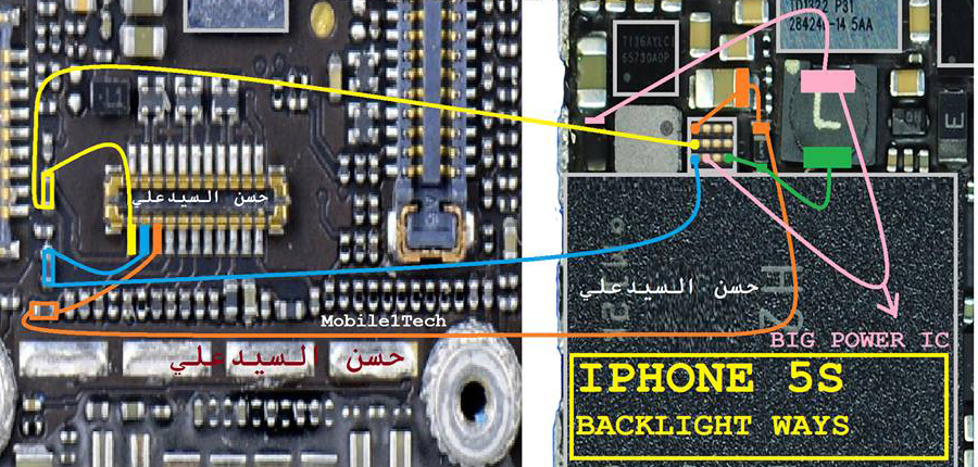 iPhone 5S LCD Display Light IC Solution Jumper Problem Ways