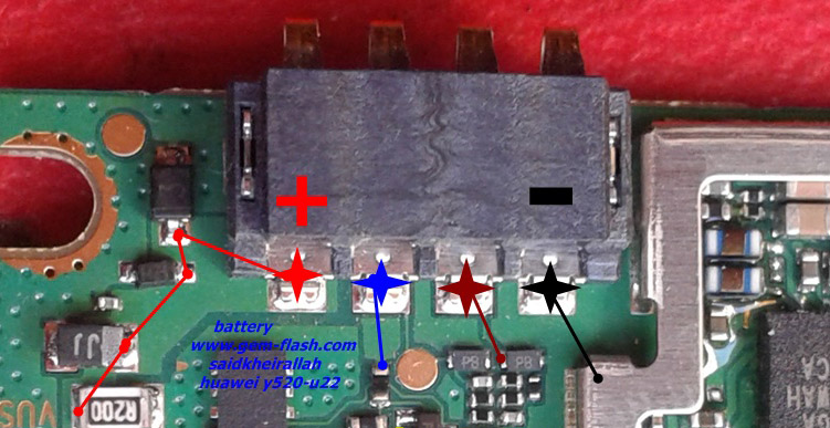 Huawei Ascend Y520 Battery Connector Terminal Jumper Ways