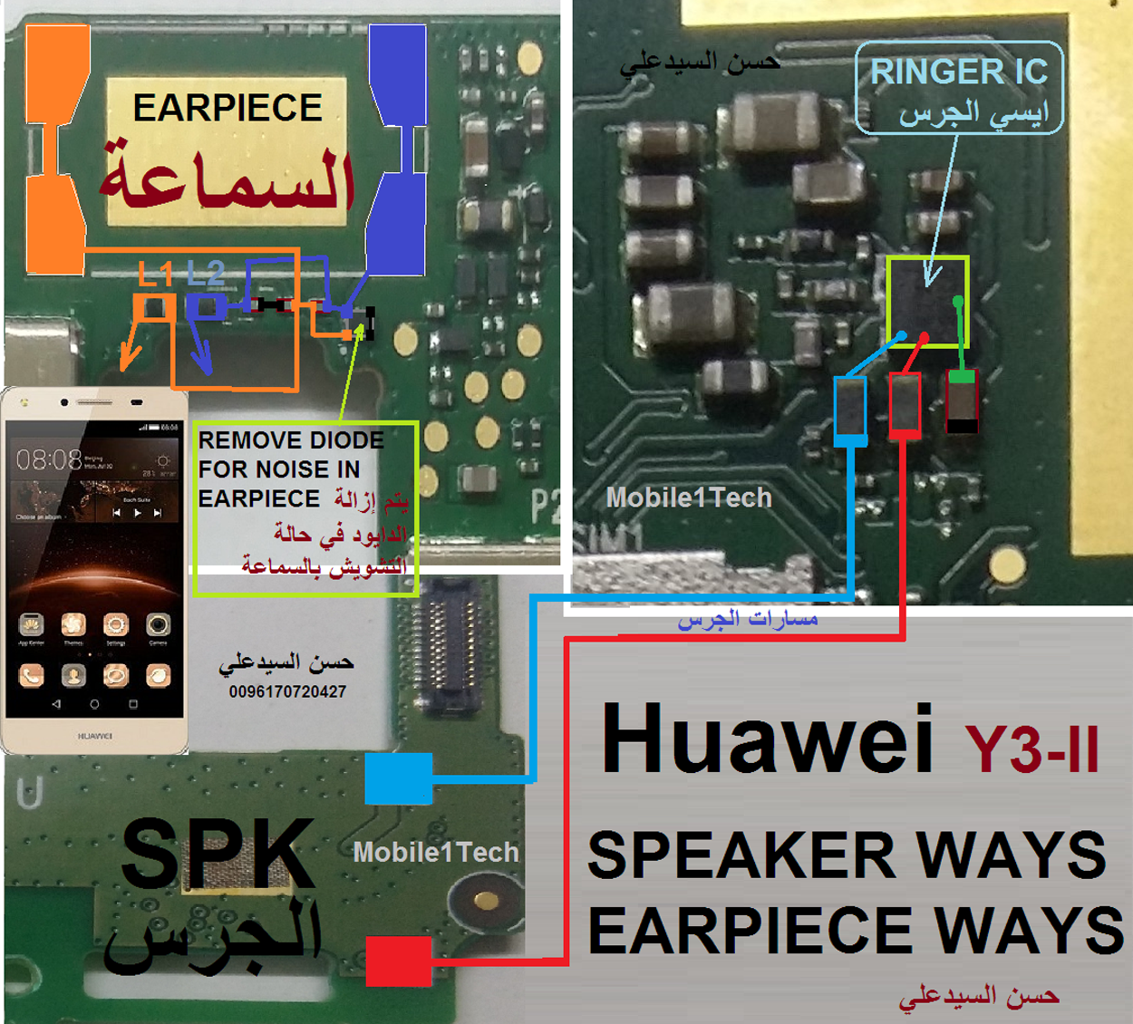 Huawei Y3II  Speaker Solution Jumper Problem Ways Earpiece