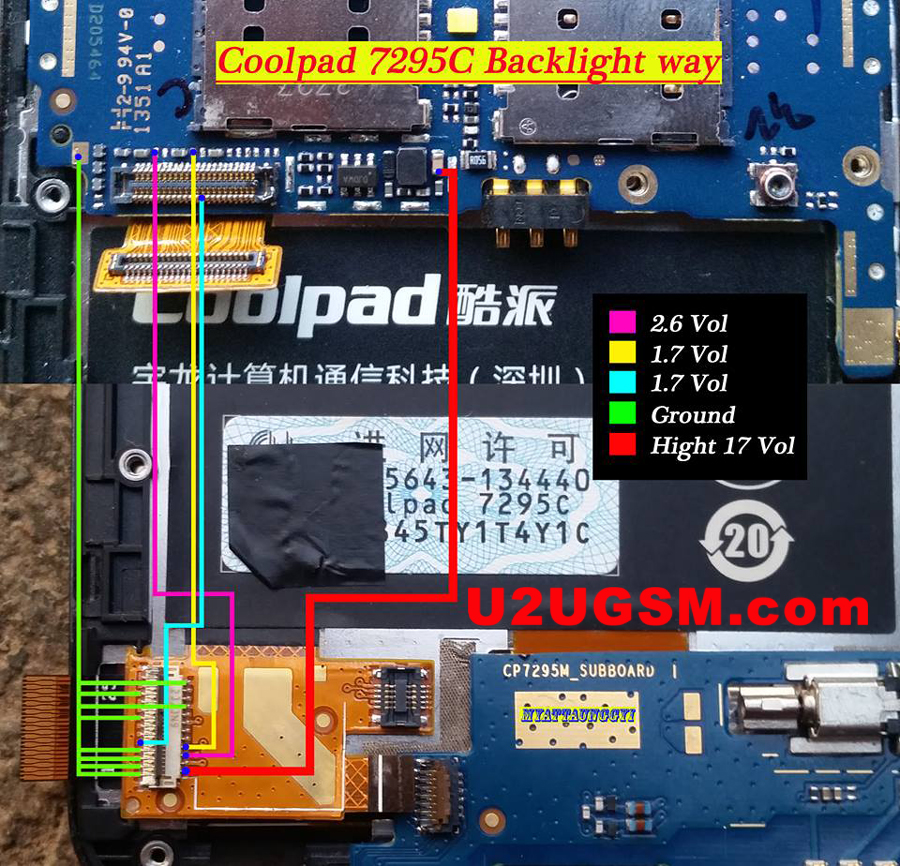 Coolpad 7295C Cell Phone Screen Repair Light Problem Solution Jumper Ways