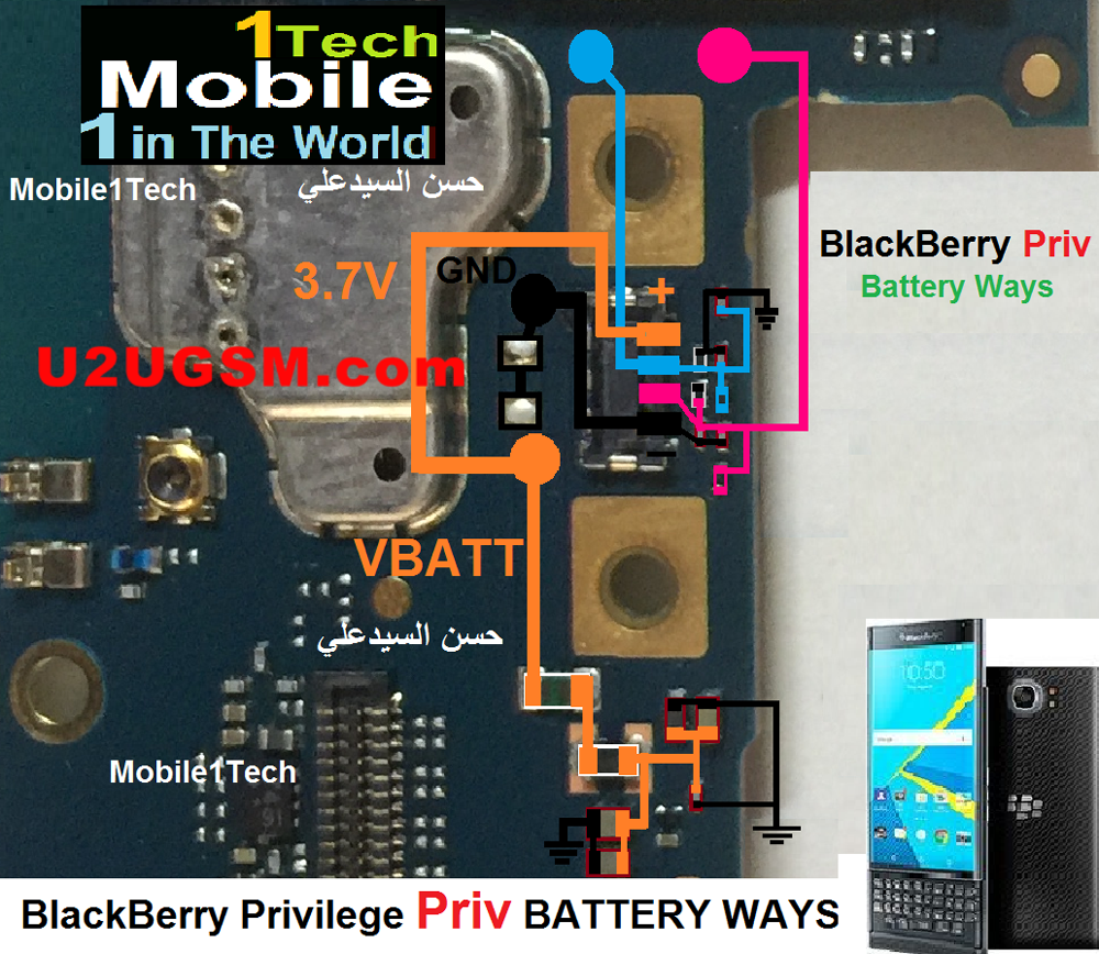 BlackBerry Priv Battery Connector Terminal Jumper Ways