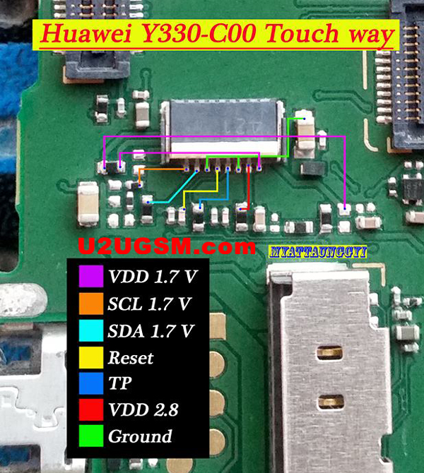 Huawei Y330-C00 touch screen not working problem solution jumpers