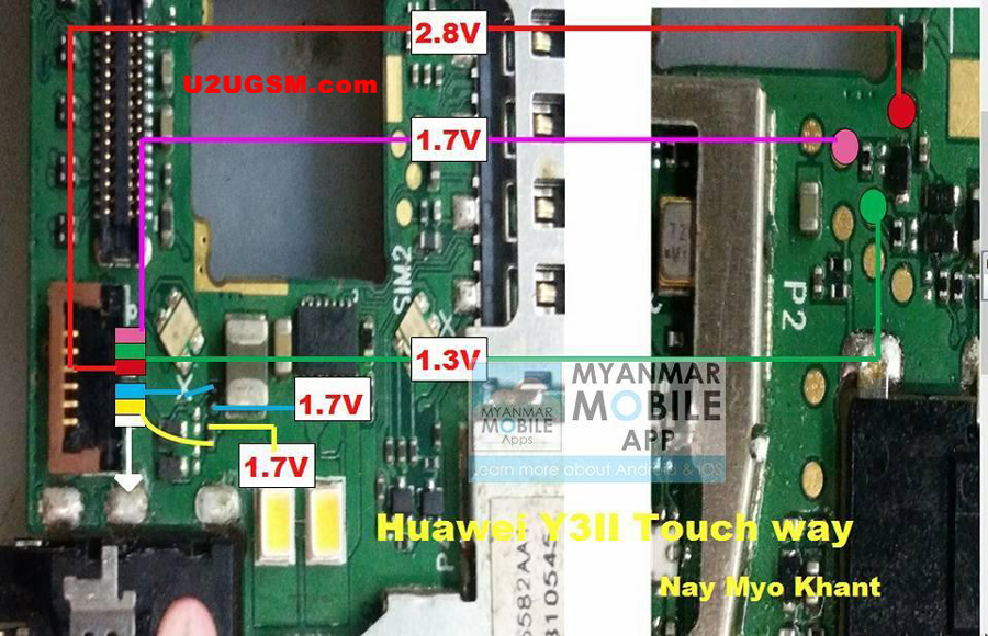 Huawei Y3II touch screen not working problem solution jumpers