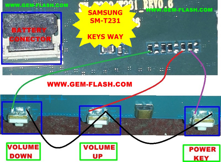 Samsung Galaxy Tab 4 7.0 3G SM-T231 Power Button Solution Jumper Ways