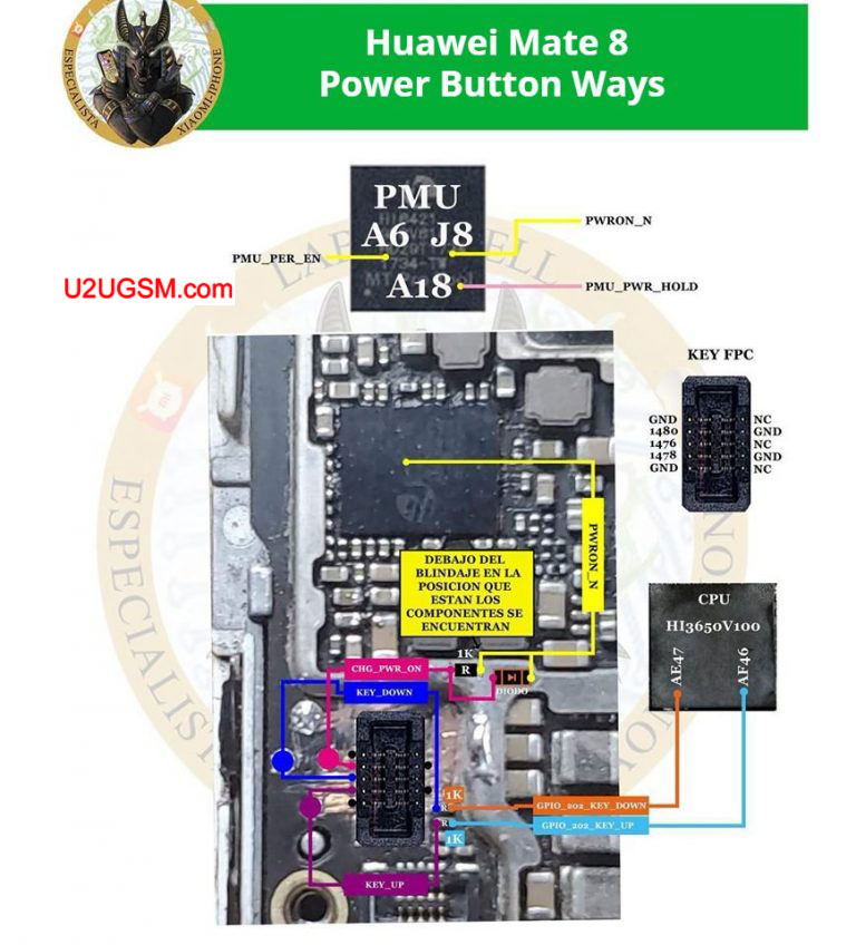 Huawei Mate 8 Power Button Solution Jumper Ways