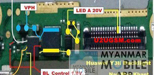 Huawei Y3II Screen Repair Light Problem Solution Jumper Ways